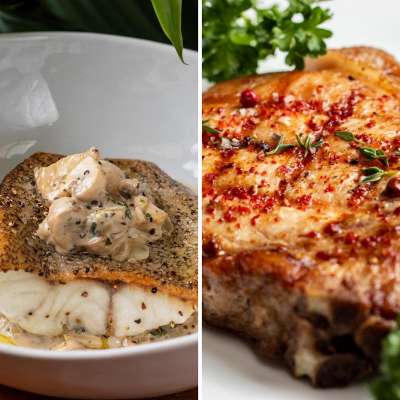 【2人海陸套餐】貝夏梅蘑菇龍虎石斑+葛瑪蘭豬排