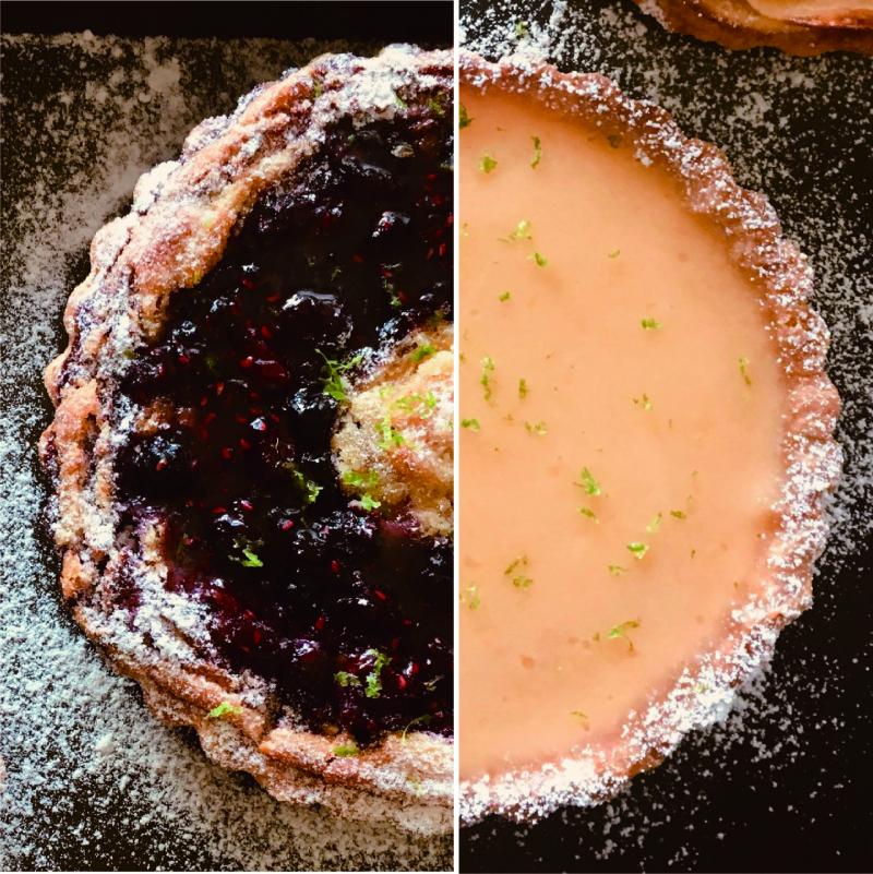 甜塔雙拼:1/2法式檸檬塔+ 1/2莓果塔